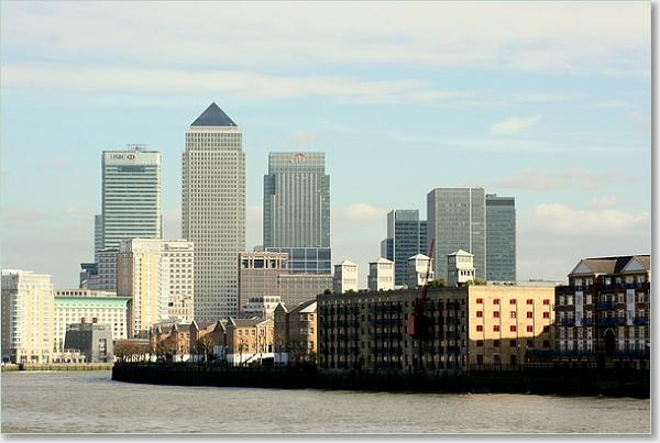 De Docklands aan de oostkant van London.