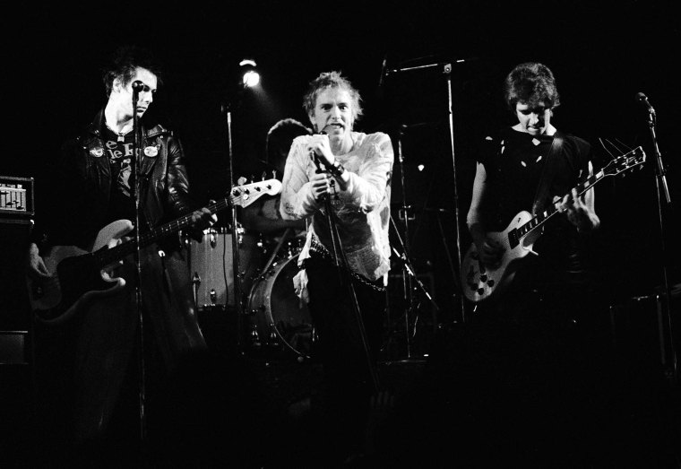 The Sex Pistols  Left to right: Sid Vicious, Johnny Rotten, and Steve Jones Copenhagen,  Denmark  July 13 1977 ©Jorgen Angel  www.angel.dk